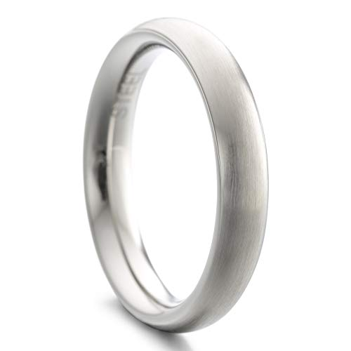 Heideman Ring Damen und Herren Paari aus Edelstahl Silber Farben poliert oder matt Damenring für Frauen und Männer Partnerringe 4mm breit schmaler gewölbter Ring strichmatt Gr.62 hr7021-4-62