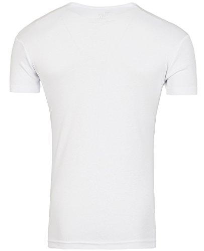 YOUNG & RICH Henley T-Shirt tiefer Y-Neck Ausschnitt Club Disco YR-1873 Herren Weiß