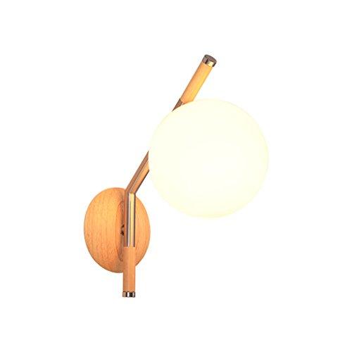 DWW-Applique murale Applique de chambre à coucher En bois de caoutchouc E27 Abat-jour en verre Éclairage intérieur Lampes de chevet fixées au mur Transmittance élevée