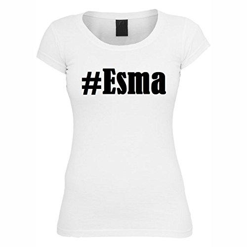 T-Shirt #Esma Hashtag Raute für Damen Herren und Kinder ... in den Farben Schwarz und Weiss Weiß