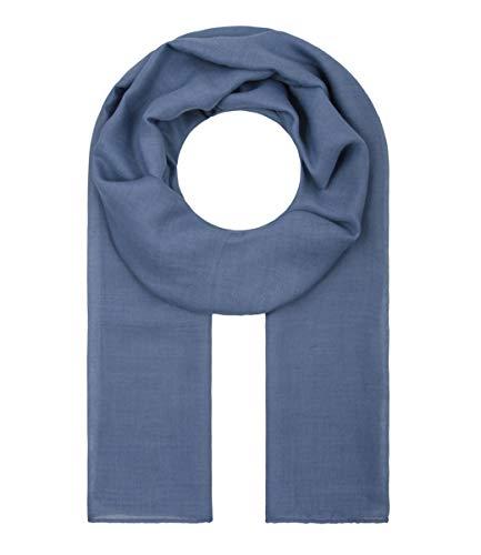 Majea Tuch Lima schmal geschnittenes Damen-Halstuch leicht uni einfarbig dünn unifarben Schal weich Sommerschal Übergangsschal (dark denim) -
