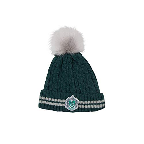 Cinereplicas - Harry Potter - Pompon Bonnet - Licence Officielle - Maison Serpentard - Vert et Gris