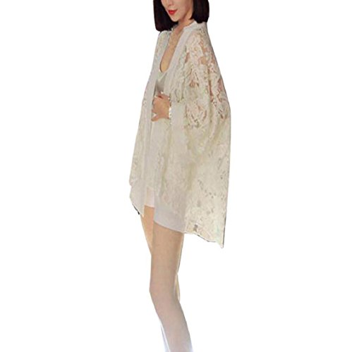 Sannysis Frauen-Spitze-Stitching Lose Kimono Cardigan Jacke Hemd-Oberseiten (Weiß) (Kimono-hemd)