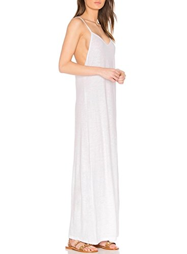 ACHICGIRL Women's Spaghetti Strap Sleeveless Backless Maxi Dress with Pom Pom White