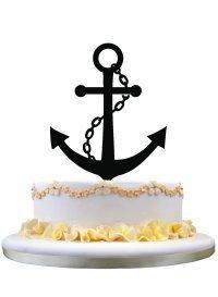 Anker-Silhouette Geburtstag Kuchen Topper Rustikales Hochzeitsgeschenk Verlobung Party Dekoration Hochzeit Jahrestag Party Kuchen Deko ()