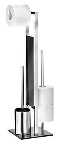 WENKO Stand WC-Garnitur Rivalta, mit integriertem Toilettenpapierhalter und WC-Bürstenhalter, Silber glänzend, Maße: 18 x 19 x 69 cm