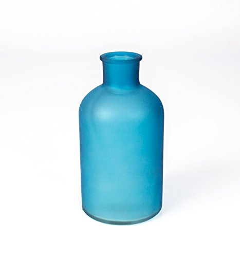 Pequeño jarrón / Florero de cristal JESSI, mate-turquesa, 16 cm, Ø 8...