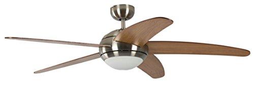 Pepeo Melton Ventilatore da Soffitto 13432010131 con Telecomando Incluso, Rivestimento di Color Nickel, Pale Miele-Acero, 132 cm, metallo