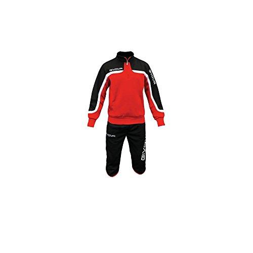 givova TT009, Tuta Pinocchietto Unisex – Adulto, Rosso/Nero, M