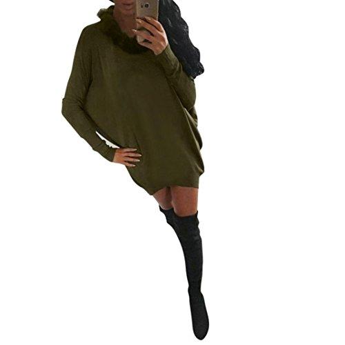 Amlaiworld Femmes Automne hiver Robe Mini Batwing manches col de fourrure artificielle Vert
