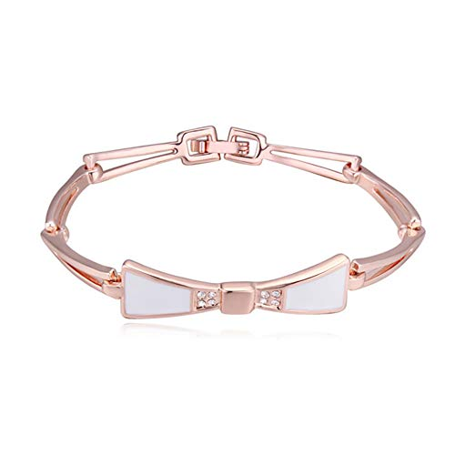ZSML Rose Gold Frauen Schmuck Armbänder, Unique Bow tie Design Inlay Crystal Charming Bangle Armband-Gift,White