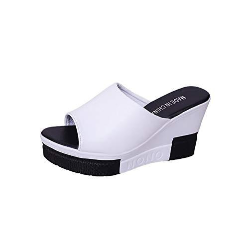NVSRZTX Sandali Donna Pantofole con Zeppa Estate Eleganti Scarpe Tacco Alto Peep-Toe Infradito Ragazze Casuale Party,White,39