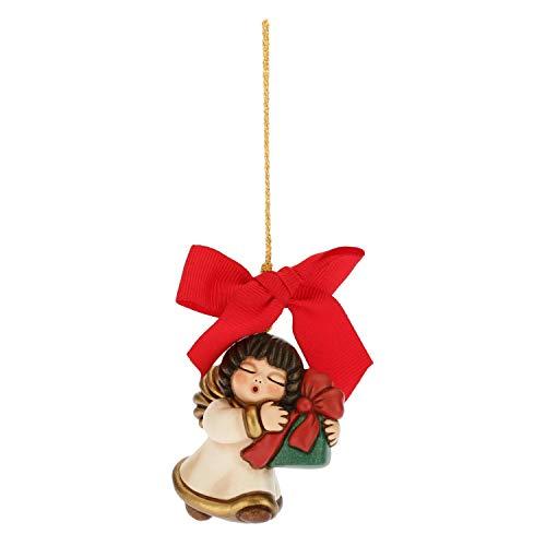 Thun® - mini angelo da appendere - addobbo natalizio per albero con fiocco rosso - ceramica - i classici