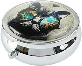 Halulu Pillendose mit Niedlichem Katzen-Motiv, rund, aus Glas, 5,1 cm