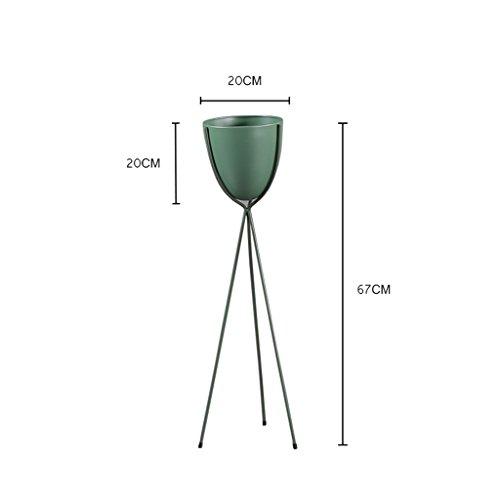 Support de fleur de bois ---- Noir / Or / Vert / Blanc Minimaliste Moderne Monocouche Art De Fer Porte-pot Balcon Au Sol Avec Coussin De Pied Salon Chlorophytum Torus Métal Support De Fleurs 15 * 22cm / 15 * 32cm / 20 * 67cm / 20 * 80cm --- Veuillez vous référer à la description ( Couleur : Vert , taille : 20*67cm )