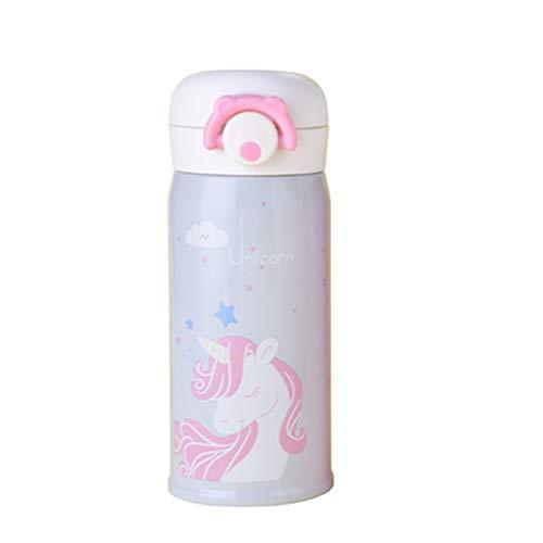 Mudacun Acero Inoxidable de la Copa de vacío Duradero Aislamiento Botella de Agua de la Taza del Unicornio Lindo 500 ML de Agua de Plata