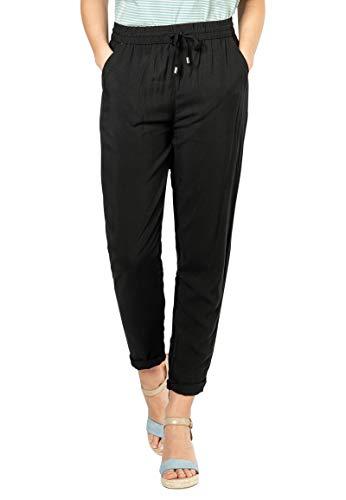 Sublevel Damen Stoffhose mit Bindegürtel aus Viskose Black XL