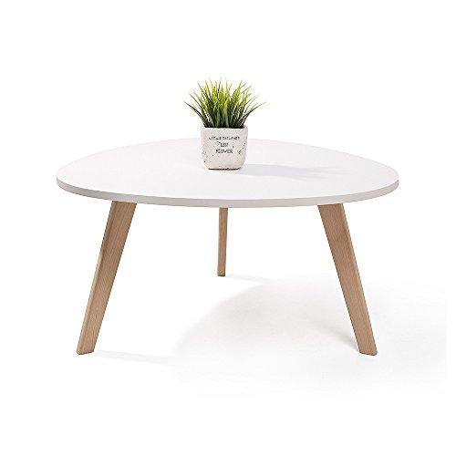 ALTA table basse scandinave aspect galet pieds en bois Blanc