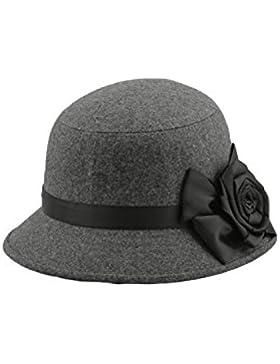 TOOGOO(R)Moda Elegante Mujeres Senoras Flores Rosa Sombrero del cubo Sombreros Gris