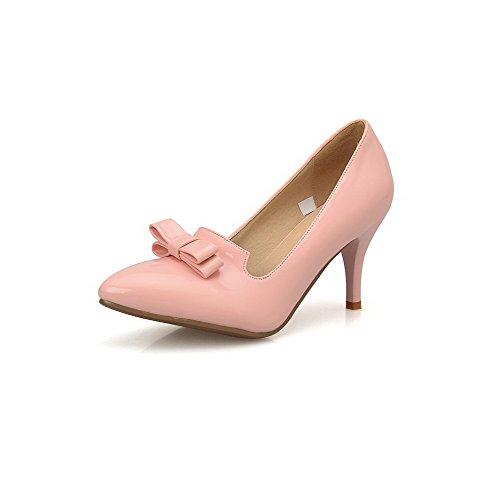AgooLar Damen Spitz Zehe Hoher Absatz Lackleder Rein Ziehen Auf Pumps Schuhe Pink