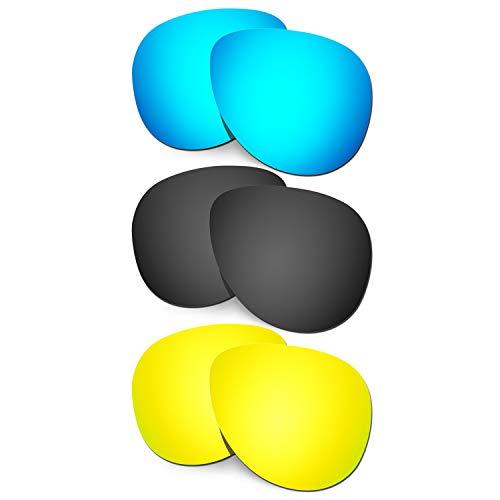 HKUCO Verstärken Ersatz-Brillengläser für Oakley Elmont (Medium) Blau/Schwarz/24 Karat Gold Sonnenbrille