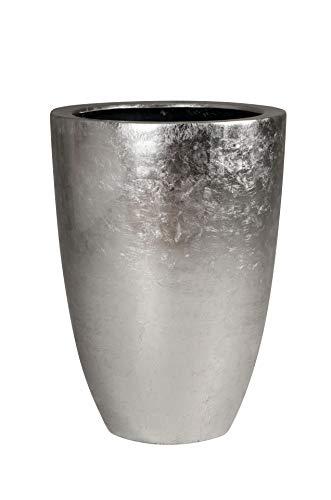 Vivanno Pflanzkübel Pflanzgefäß Blumenkübel exklusiv Fiberglas Silber Opala - 44 x 32 cm
