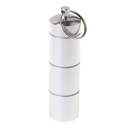 Sitonelectic Pillendose aus Metall - Medizinbehälter Schlüsselanhänger, Medizinetui