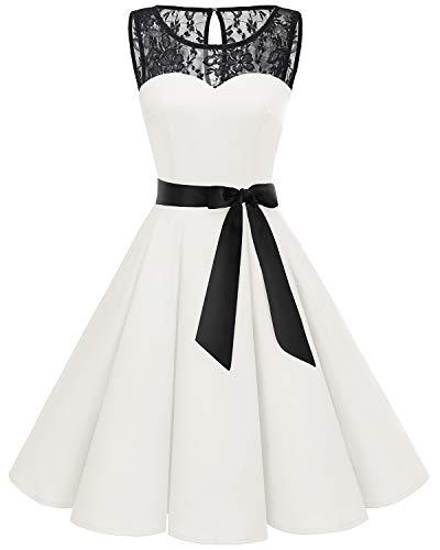 bbonlinedress 1950er Ärmellos Vintage Retro Spitzenkleid Rundhals Abendkleid White S