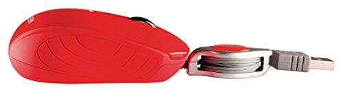 Eurosell Mini USB Maus - Kabel Aufroller einziehbar aufrollbar - Laptop Computer Notebook Pc - Optisch (Rot)