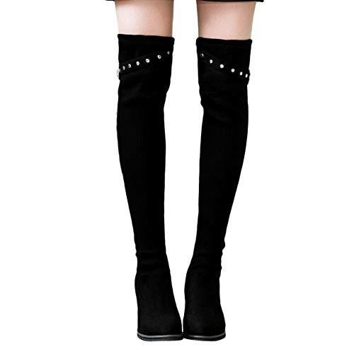 Geili Damen Stiefel Overknees mit Blockabsatz Übergrößen Modische Schnalle High Heels Langschaft Boots Frauen Elegante Hoher Absatz Kniestiefel Abendschuhe 36-39