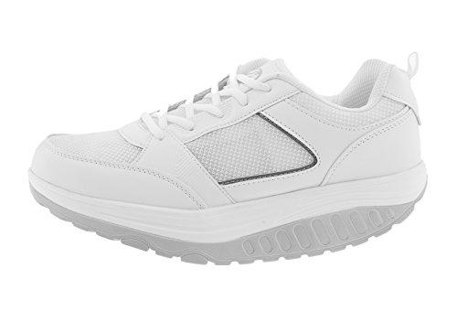 Zapatos Hombre Benessere dimagranti deportivas Fitness Basculan Eglemtek® TM, Bianco Grigio (Mod. Estivo)