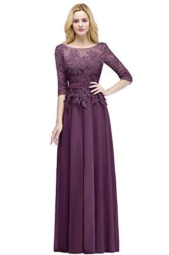 Damen Elegant Langarm Abendkleid Spitzen Brautmutter Kleid Festlich Kleid Rückenfrei lang Dunkel Lila 36 -