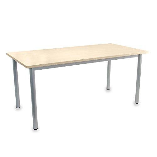 Ahorn Stahl Schreibtisch (OPTIMA Besprechungstisch Ahorn 160x80cm 4-6 Pers. Konferenztisch Meetingtisch)