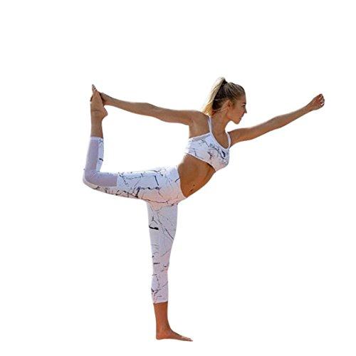 2Pcs Damen Trainingsanzug, DoraMe Frauen Druck Camisole Slim Strumpfhosen Sport Tragen Lässige Anzug Tank Tops + Yoga Hosen Sets (Weiß, XL) (Tank Hose)