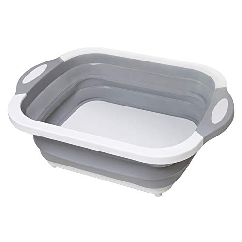 Dušial Multifunction Collapsible Cutting Board Drain Basket Vegetable Basin Portable Tub - Folding Cutting Board