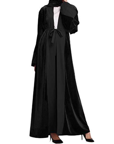 Andopa Damen cardigan muslim trendy belted islamische velour kaftan kleider XL Schwarz -