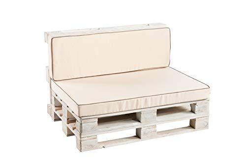 Palettenkissen Sitzkissen, Rückenkissen Schaumkissen glatt (Rückenlehne 120x40, Creme)