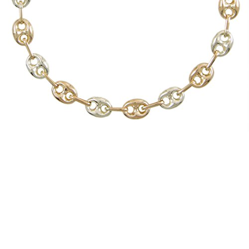 Damen-Halskette Echtgold–Kaffeebohnen zweifarbig gelb und weiß