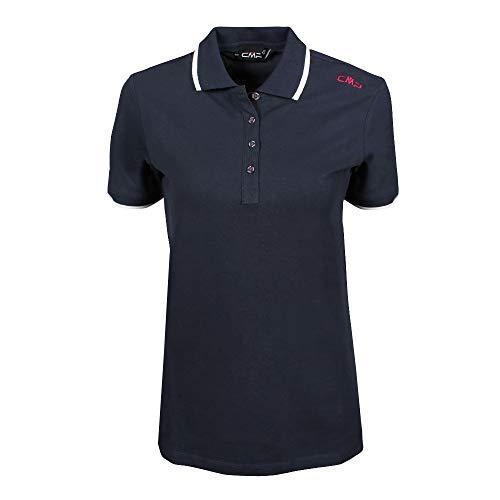 CMP Damen Polo 39D8356 T-Shirt, Black Blue, 48 -