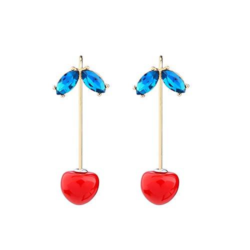 RQZQ ohrring Sommer Neue Nette Kirsche Charme Ohrringe Glas Shiny Leaf Ohrringe Für Frauen Modeschmuck Drop Shipping Zubehör - Kirsche Drop-leaf