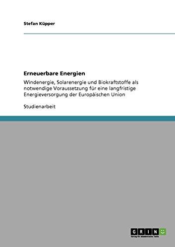 Erneuerbare Energien: Windenergie, Solarenergie und Biokraftstoffe als notwendige Voraussetzung für eine langfristige Energieversorgung der Europäischen Union
