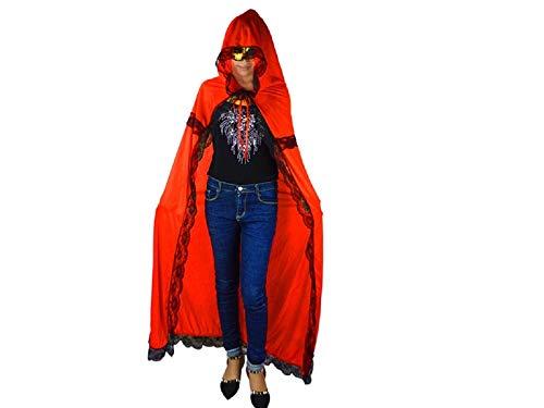 Yyanliii divertente elegant long cape with lace christmas costumes mantella con cappuccio per halloween party (rosso) (colore : green, dimensione : length 120cm)