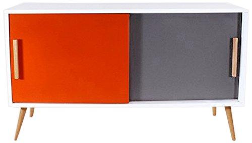 40x90x70 cm ACTUAL DIFFUSION Bahut Buffet Blanc 2 Portes 4 Pieds Ch/êne Vintage