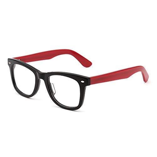 JIM HALO Klassisch RX Brille Rahmen Federscharnier Klar Linse Platz Gläser Damen Herren(Schwarz Rot/Klar)