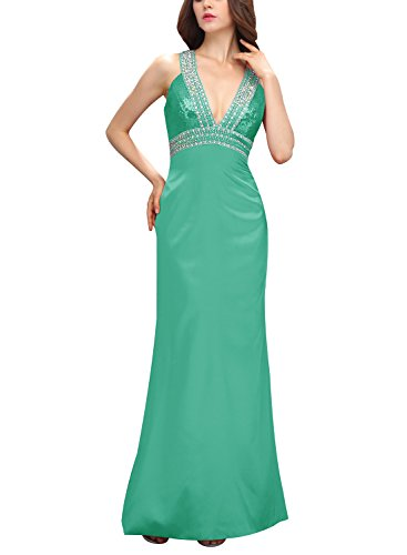 Bbonlinedress Robe de cérémonie Robe de soirée en satin emperlée col en V dos nu longueur ras du sol Vert
