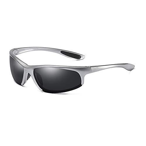 Gläser Sonnenbrillen für Herren mit polarisierten Gläsern für leichten UV-Schnitt und UV-Angelsport (Color : Silber, Size : Kostenlos)