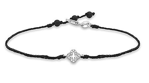 Carissima Gold 9 ct Or blanc Diamond Fancy Cross Adjustable Black String Bracelet of Length 15 cm/6 inch - 18 cm/7 inch