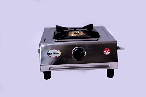Hot Shine Single Burner ISI Approved Gas Stove Stainless Steel (Smart, Brass Burner)