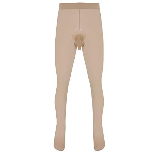 Freebily Herren Strumpfhose Tights Leggings mit Penishülle Pantyhose Männer Tansparent Unterhose Unterwäsche Kompression Panties Sport Fitness Hautfarbe A One Size