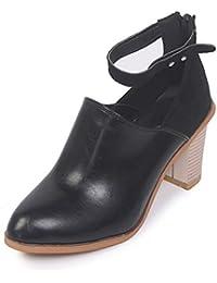 df97dc54f4 Señora Botas de tacón Alto Primavera otoño riendas Tobillo imitación Cuero Zapatos  Cortos Cremallera Zapatos